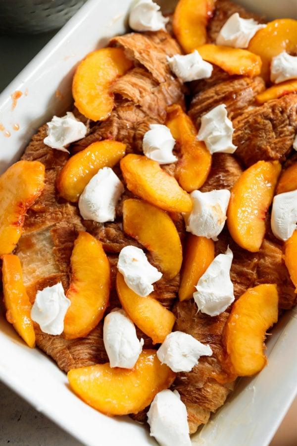 peaches, croissants, cheese