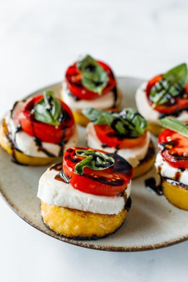 Grilled Polenta Caprese Appetizers