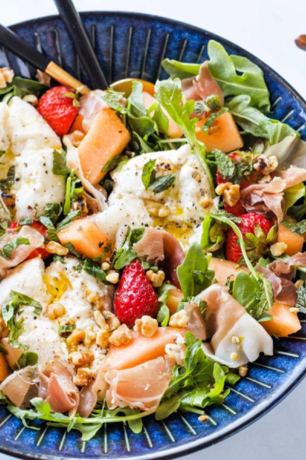 Burrata Melon Strawberry Salad with olive oil