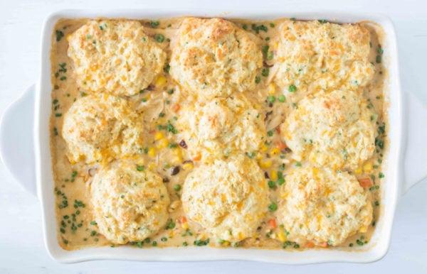 cheesy biscuits on chicken pot pie