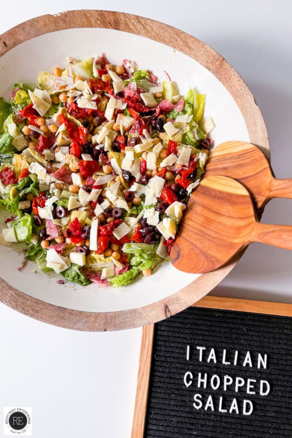 round serving bowl of Italian Chopped Salad