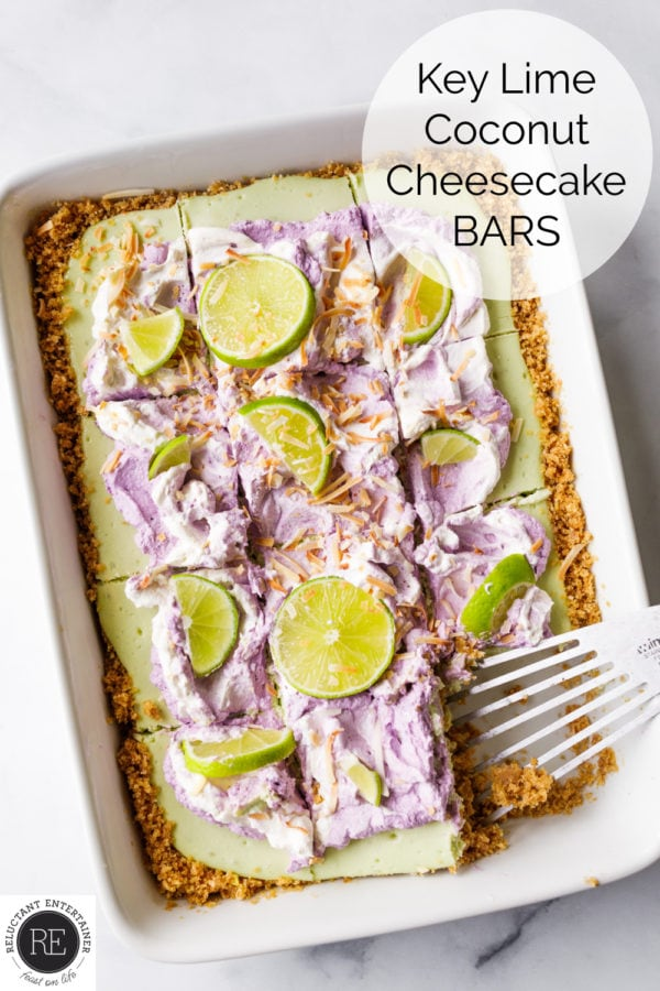 Key Lime Coconut Cheesecake Bars garnished with lime