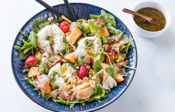 serving bowl of Burrata Melon Strawberry Salad