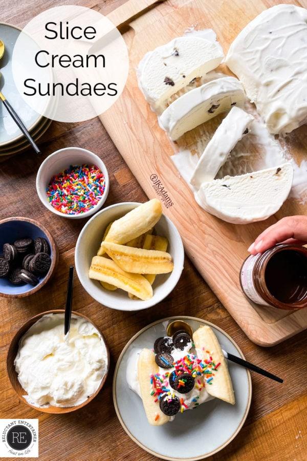 ingredients set out for Slice Cream Sundaes
