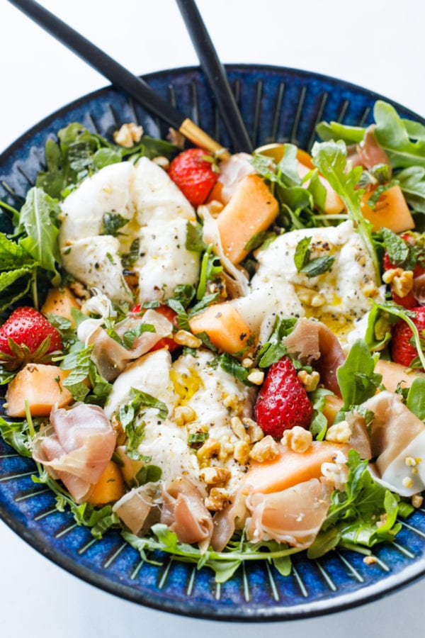 fresh Burrata Melon Strawberry Salad