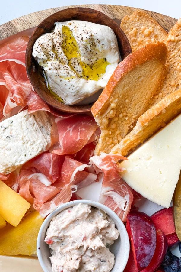 burrata cheese on cheese board