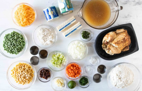 ingredients for Chicken Pot Pie with Cheesy Drop Biscuits