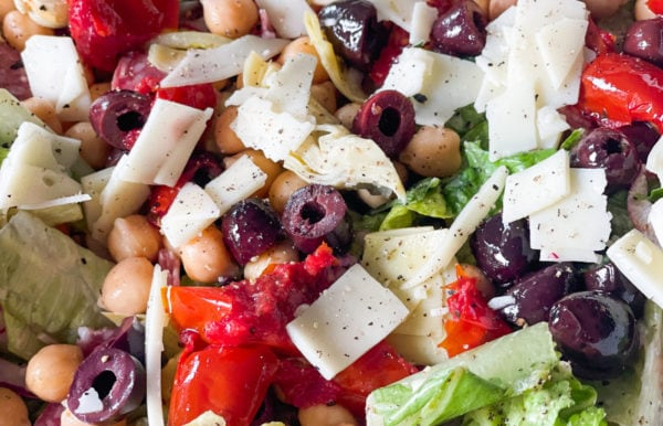 olive and cheese in chopped salad
