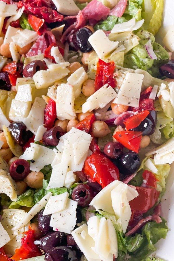 chickpeas, olives, cheese, in chopped salad