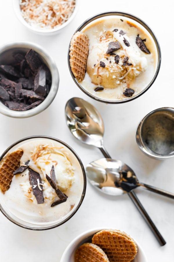 Coffee Affogato With Vanilla Ice Cream spread