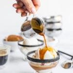 pouring espresso over ice cream