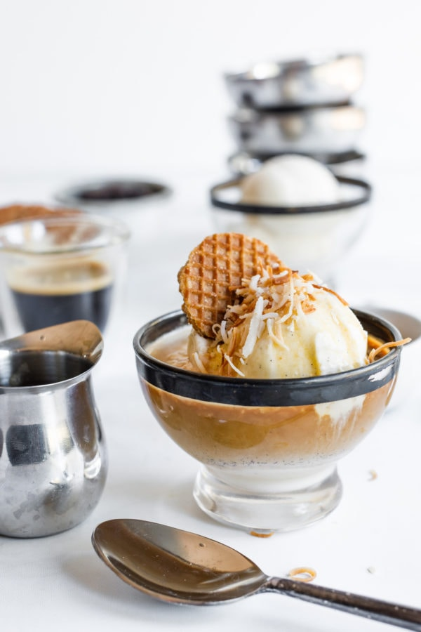 Coffee Affogato With Vanilla Ice Cream with cookies