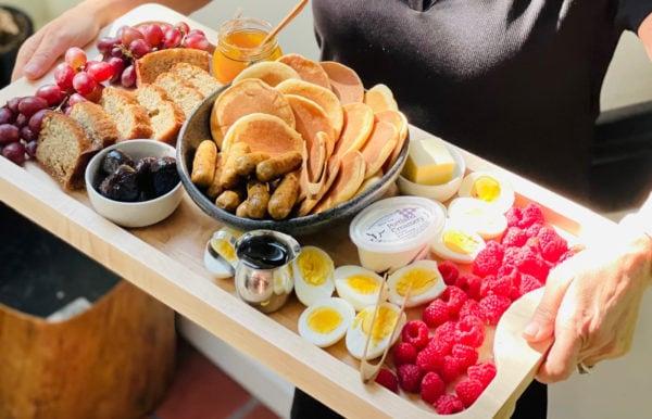 Greek Yogurt Banana Bread on a pancake board