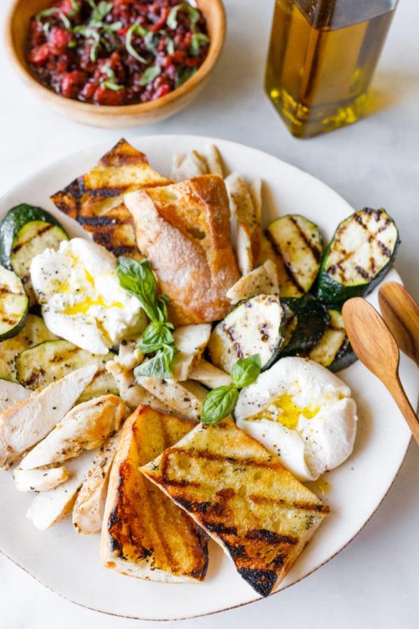 Grilled Zucchini Burrata Chicken Salad