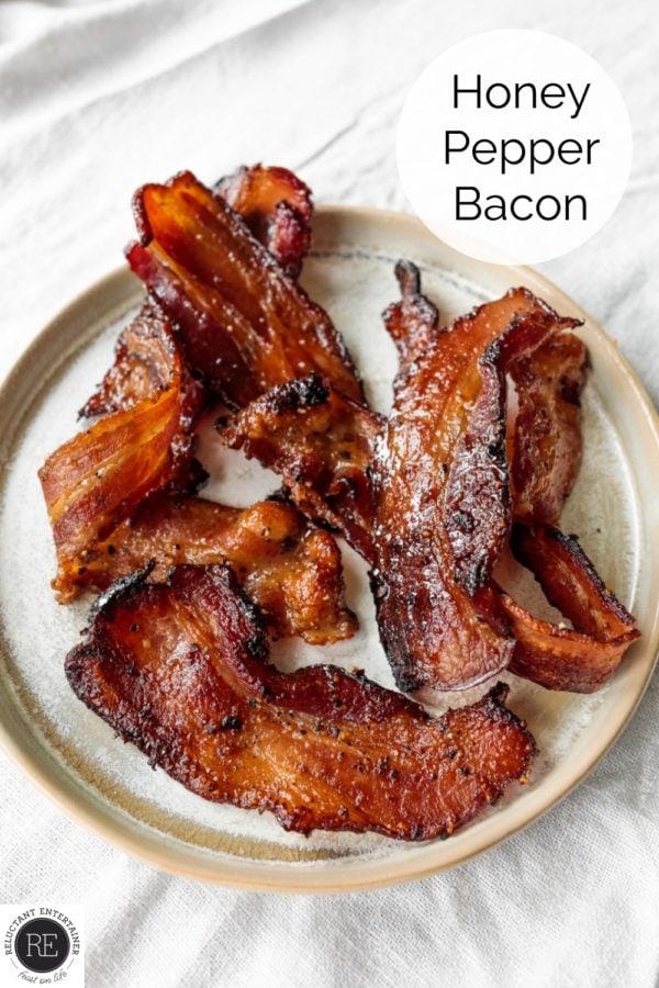 honey bacon pepper on a white plate