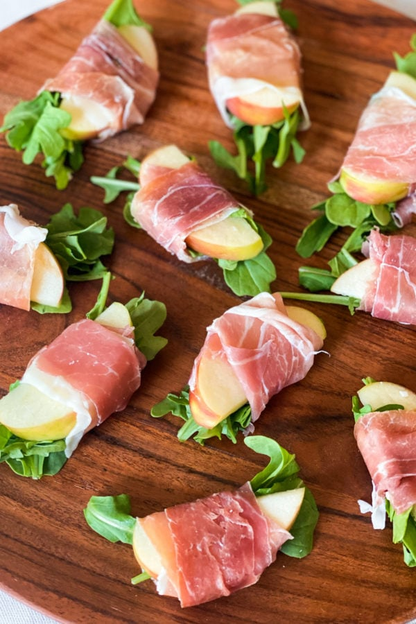 plate of Prosciutto Wrapped Apple Bites