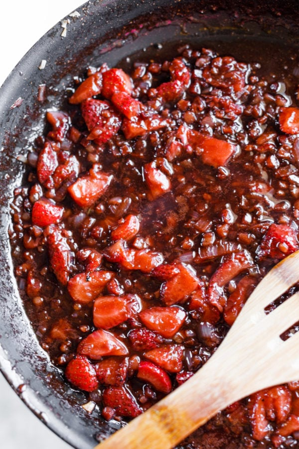 cooking Strawberry Shallot Balsamic Reduction