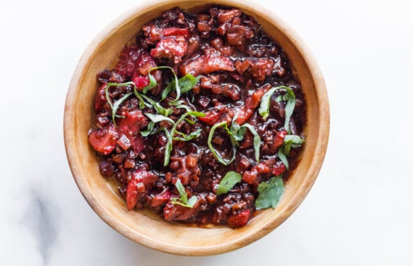 Strawberry Shallot Balsamic Reduction in round wood bowl