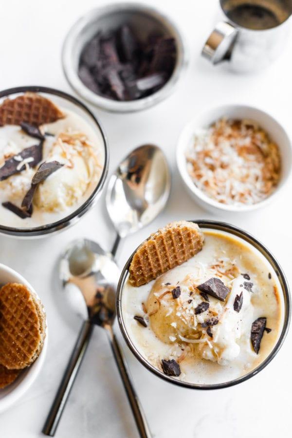 bowls of Coffee Affogato With Vanilla Ice Cream