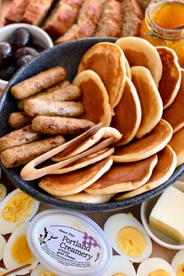 pancakes and sausage in a bowl