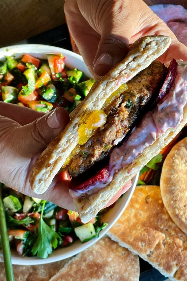 a pita burger with pickled beets