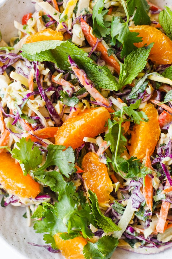 Crunchy Cashew Cabbage Salad with herbs