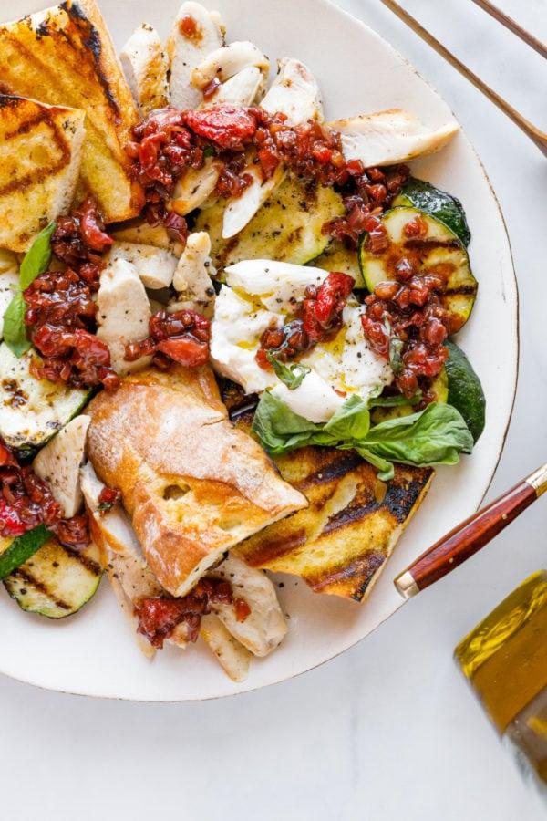 serving of Zucchini Burrata Chicken Salad
