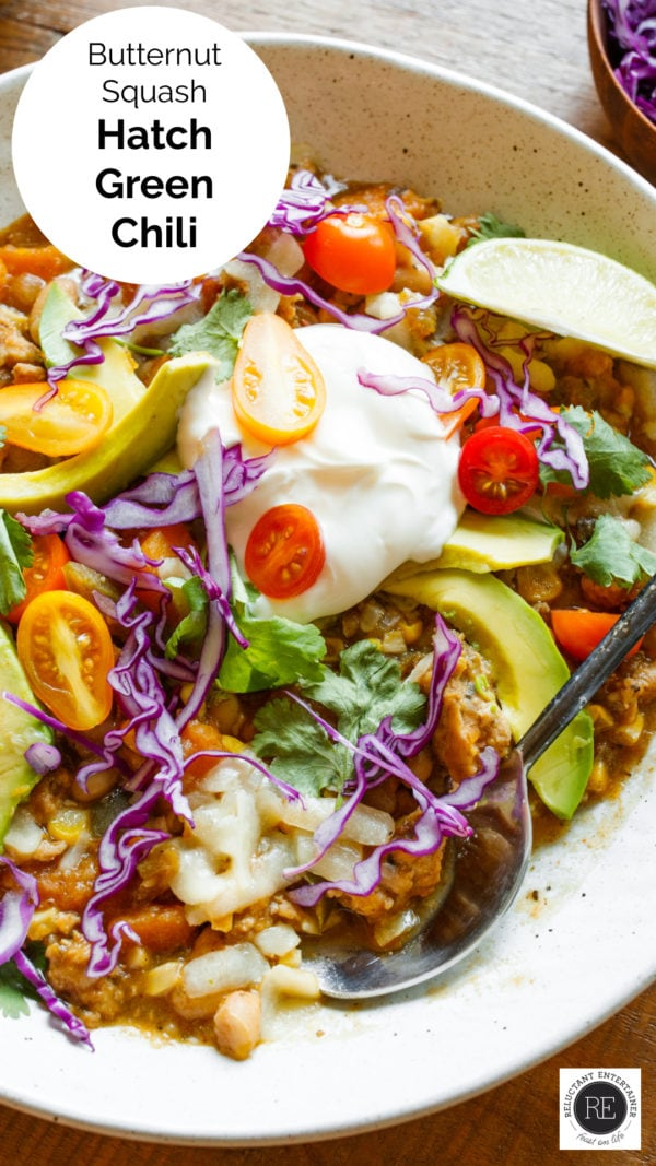 Butternut Squash Hatch Green Chili with sour cream