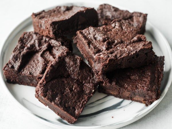 brownie squares on a plate