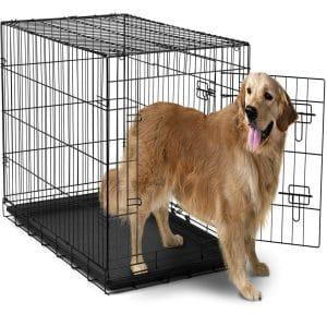 Jaula para perros OxGord de 42 pulgadas con separación, jaula plegable para mascotas con dos puertas