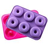 KLEMOO - Juego de 2 platos de repostería de silicona, silicona, molde antiadherente, horneado de rosquillas completas perfectamente entrenadas para suavizar su