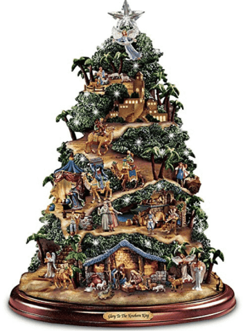 Thomas Kinkade Brillante Natividad Mesa Árbol