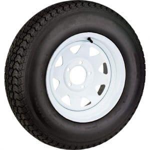 Llanta de radios blancas Express Wheels de 15 pulgadas con neumático asimétrico ST205 / 75D15