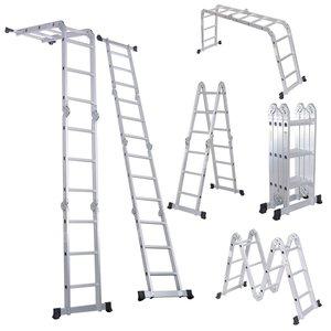 3. Escalera plegable Luisladders con extensión de aluminio multipropósito, combinada para uso intensivo, estándar EN 131, estándar de 1 escalón (estándar EN 131)