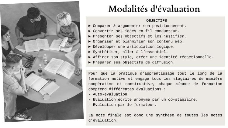 Rédiger pour le web - Modalité évaluation
