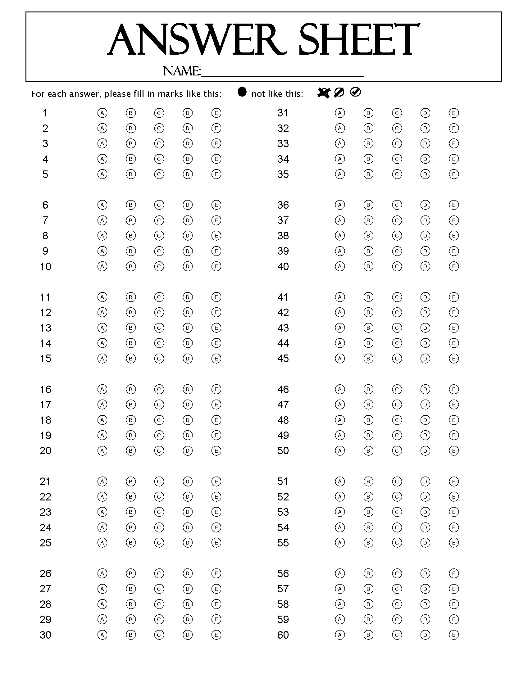 Search results for free multiple choice bubbles template for Multiple choice questionnaire template