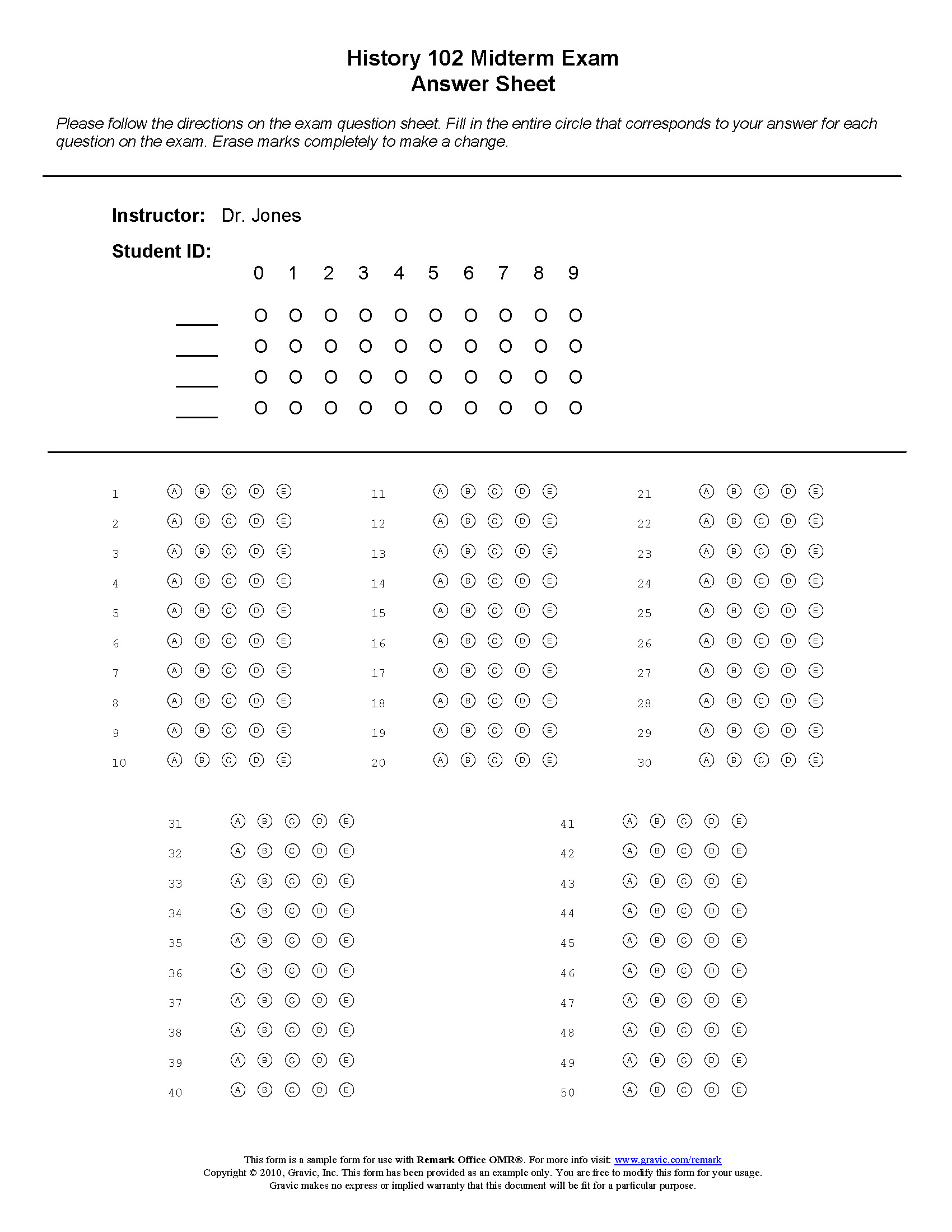 50 Question Test Answer Sheet Remark Software