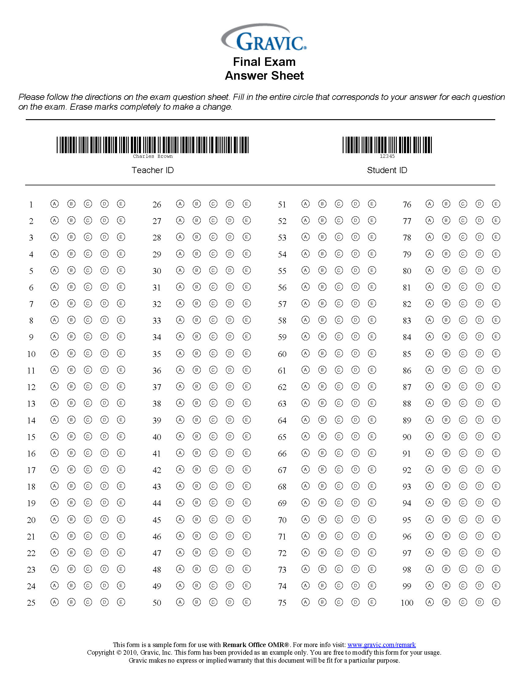 100 Question Test Answer Sheet With Barcode Remark Software
