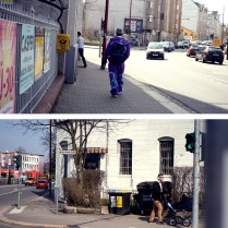 Limba-Streetstyle. Oben: Jogging-Anzüge mit Getto-Flair. Unten: Kassberg-Hipsterstyle - Auffällige Kopfhörer in Kombination mit Mann und Kinderwagen