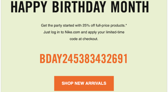 Nike Birthday Discount Email