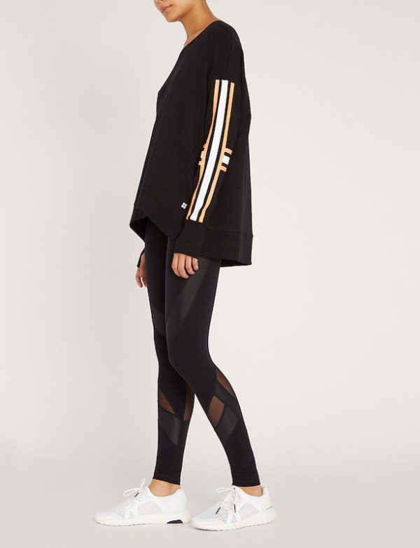 Sweaty Betty - Simhasana Slogan Sweatshirt - Black Cotton - detail view