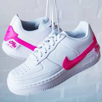 Nike Air Force 1 Jester XX Shoe - Pink White - laces hang