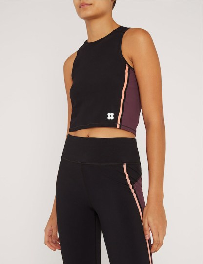 Sweaty Betty - Homestraight Run stretch jersey crop top - front view