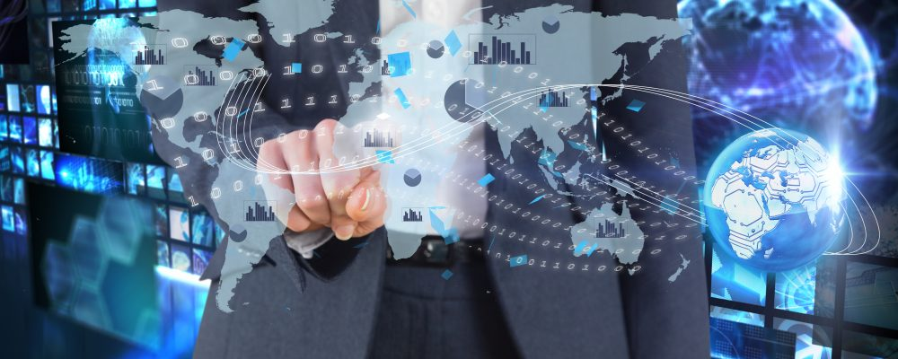 composite of businessman pointing at graphics