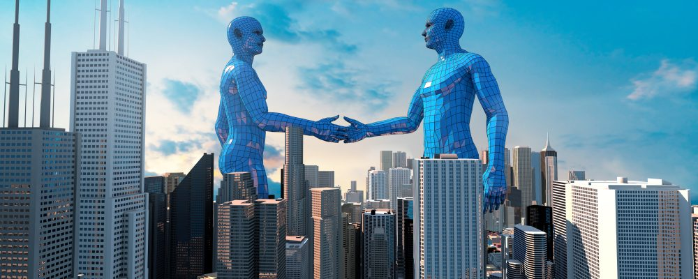merger and acquisition business concept, join company robot handshake , 3d rendering