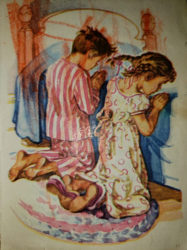 Illustration by Charlotte Ware of a boy and girl praying next to a bed.