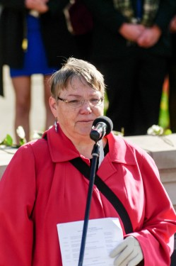 Judy O'Rourke at the Rose-Laying Ceremony at Syracuse University