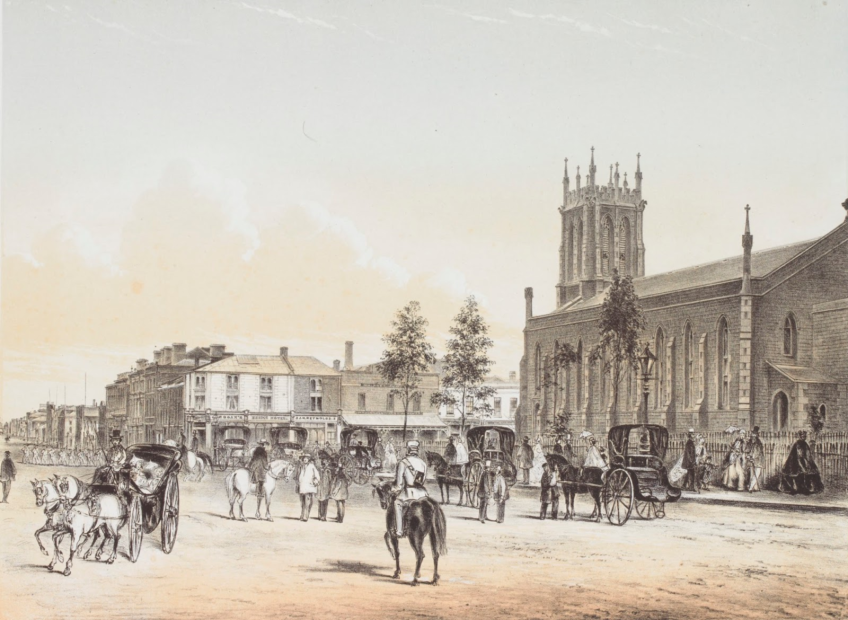 Shows streetscape of Flinders Street, looking west, with Bridge Hotel (now known as Young and Jackson's Hotel) on the far corner, St. Paul's Cathedral on the opposite corner, horsedrawn vehicles and pedestrians.