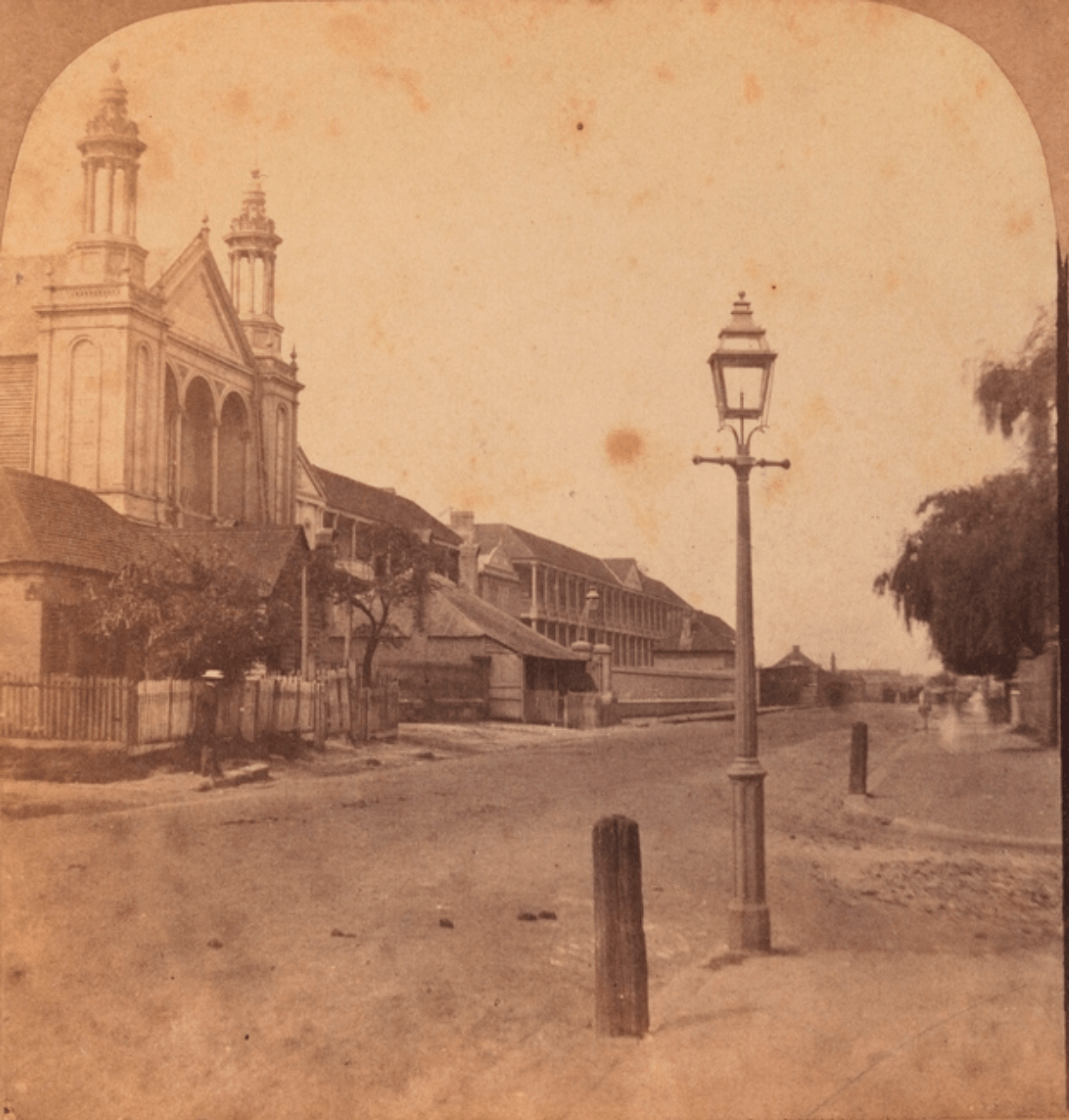 Taken from corner of Hunter & Macquarie Streets, looking south. St. Stephens Presbyterian Iron Church on left