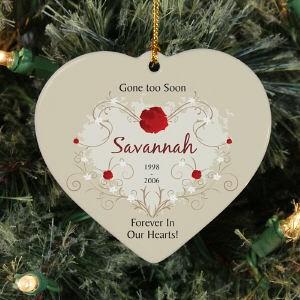 Personalized Ceramic Heart Memorial Ornament Memorial